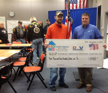 Veterans' Day 2012 -  Frank Weaver and Home Comfort Experts presenting the check to Fort Wayne, Indiana DAV #40.